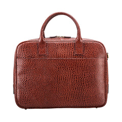Image 1 of the 'Calvino' Chestnut Croco Veg-Tanned Leather Briefcase