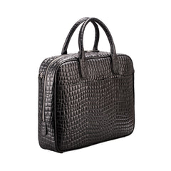 Image 2 of the 'Calvino' Black Croco Veg-Tanned Leather Briefcase