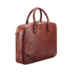 Image 2 of the 'Calvino' Chestnut Croco Veg-Tanned Leather Briefcase