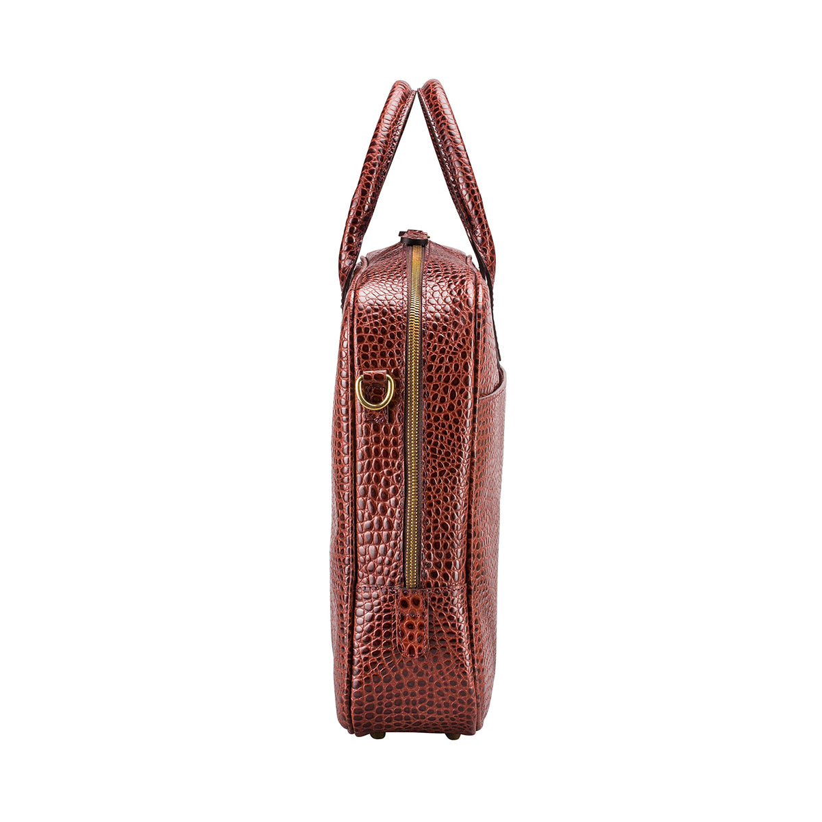 Image 3 of the 'Calvino' Chestnut Croco Veg-Tanned Leather Briefcase
