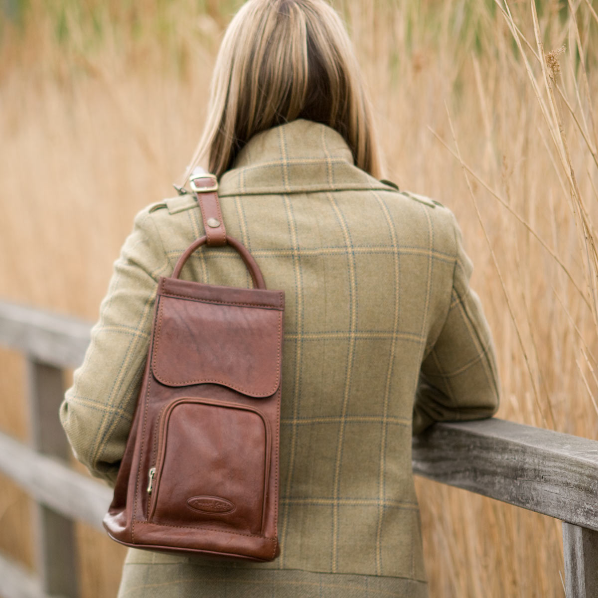 Image 6 of the 'Carli' Black Veg-Tanned Leather Backpack