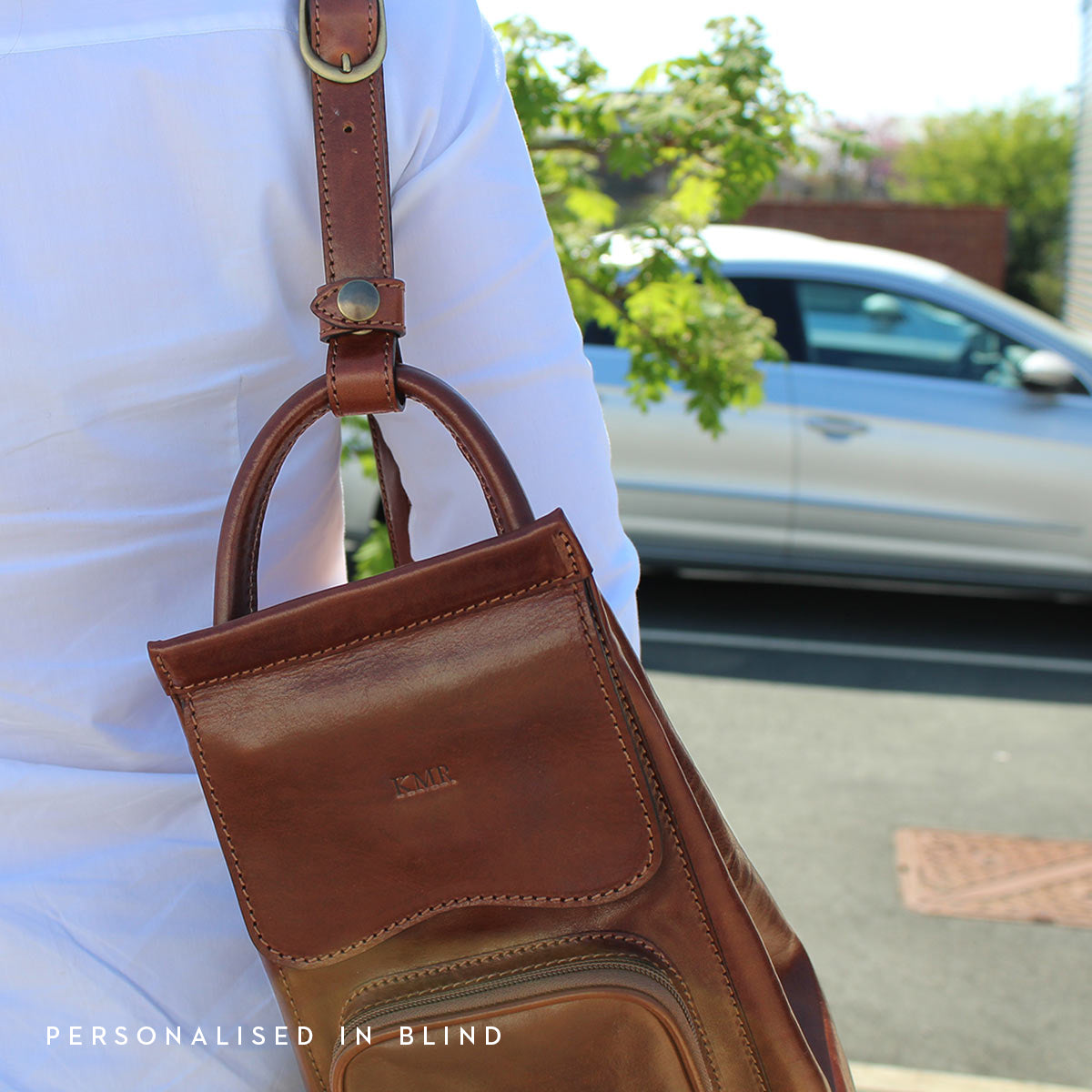 Image 6 of the 'Carli' Chestnut Tan Veg-Tanned Leather Backpack
