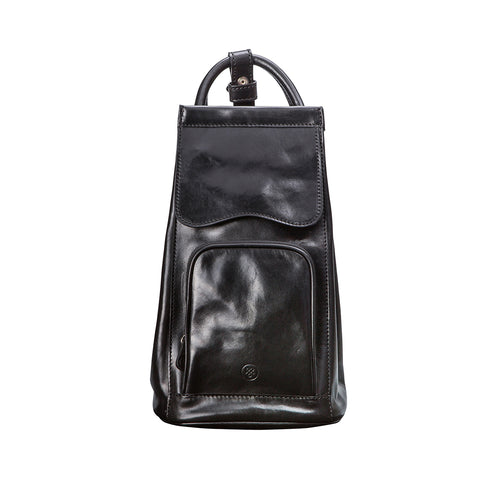 Image 1 of the 'Carli' Black Veg-Tanned Leather Backpack