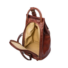 Image 5 of the 'Carli' Chestnut Tan Veg-Tanned Leather Backpack