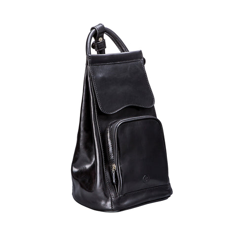 Image 2 of the 'Carli' Black Veg-Tanned Leather Backpack