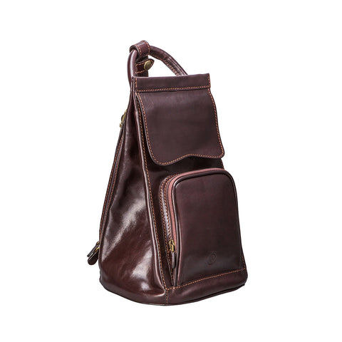 Image 2 of the 'Carli' Dark Chocolate Veg-Tanned Leather Backpack
