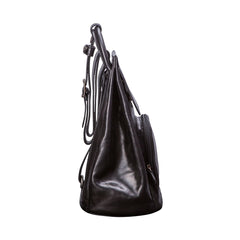 Image 3 of the 'Carli' Black Veg-Tanned Leather Backpack