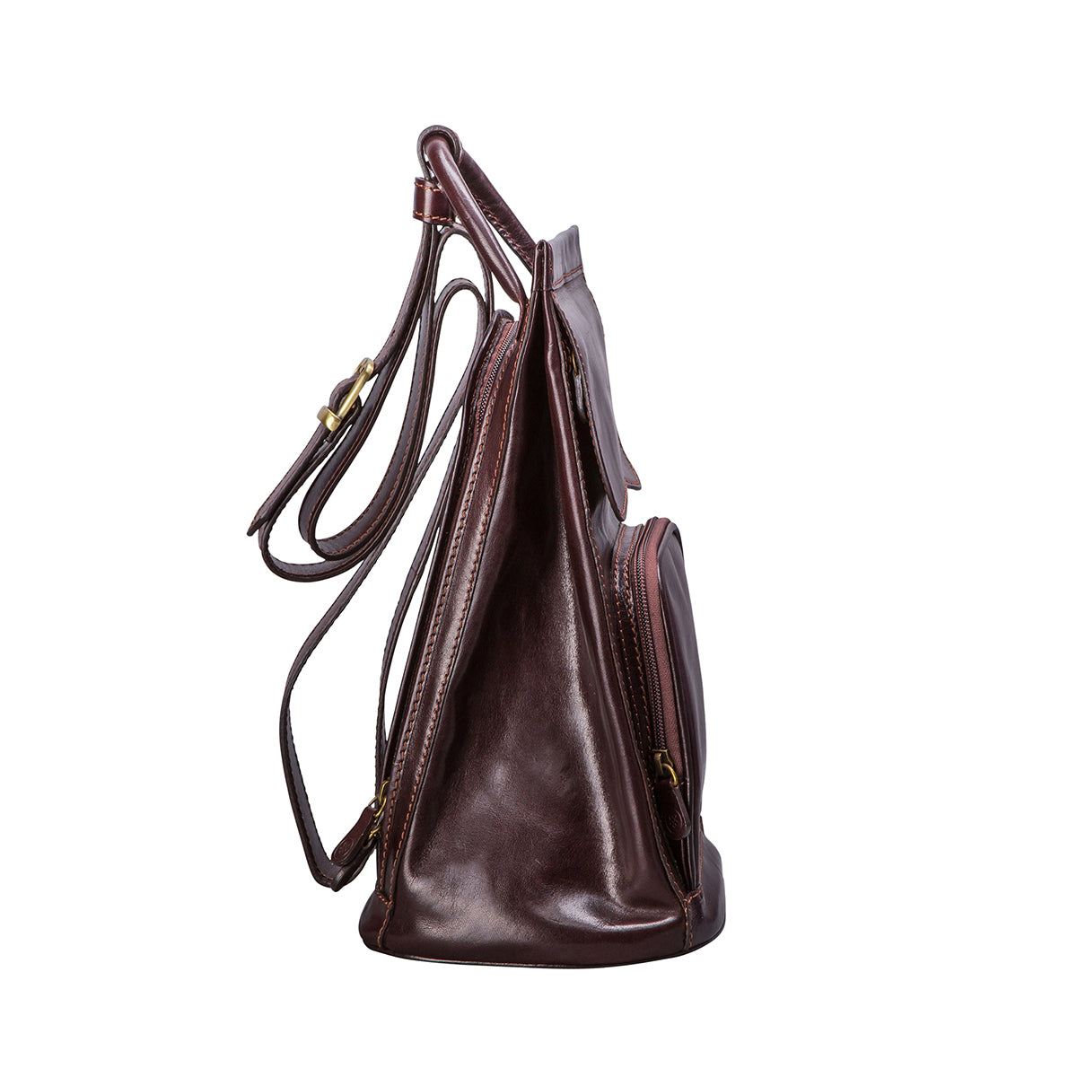 Image 3 of the 'Carli' Dark Chocolate Veg-Tanned Leather Backpack
