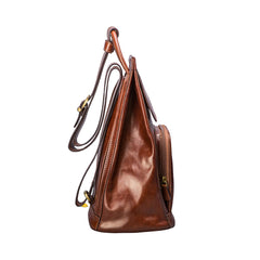 Image 3 of the 'Carli' Chestnut Tan Veg-Tanned Leather Backpack
