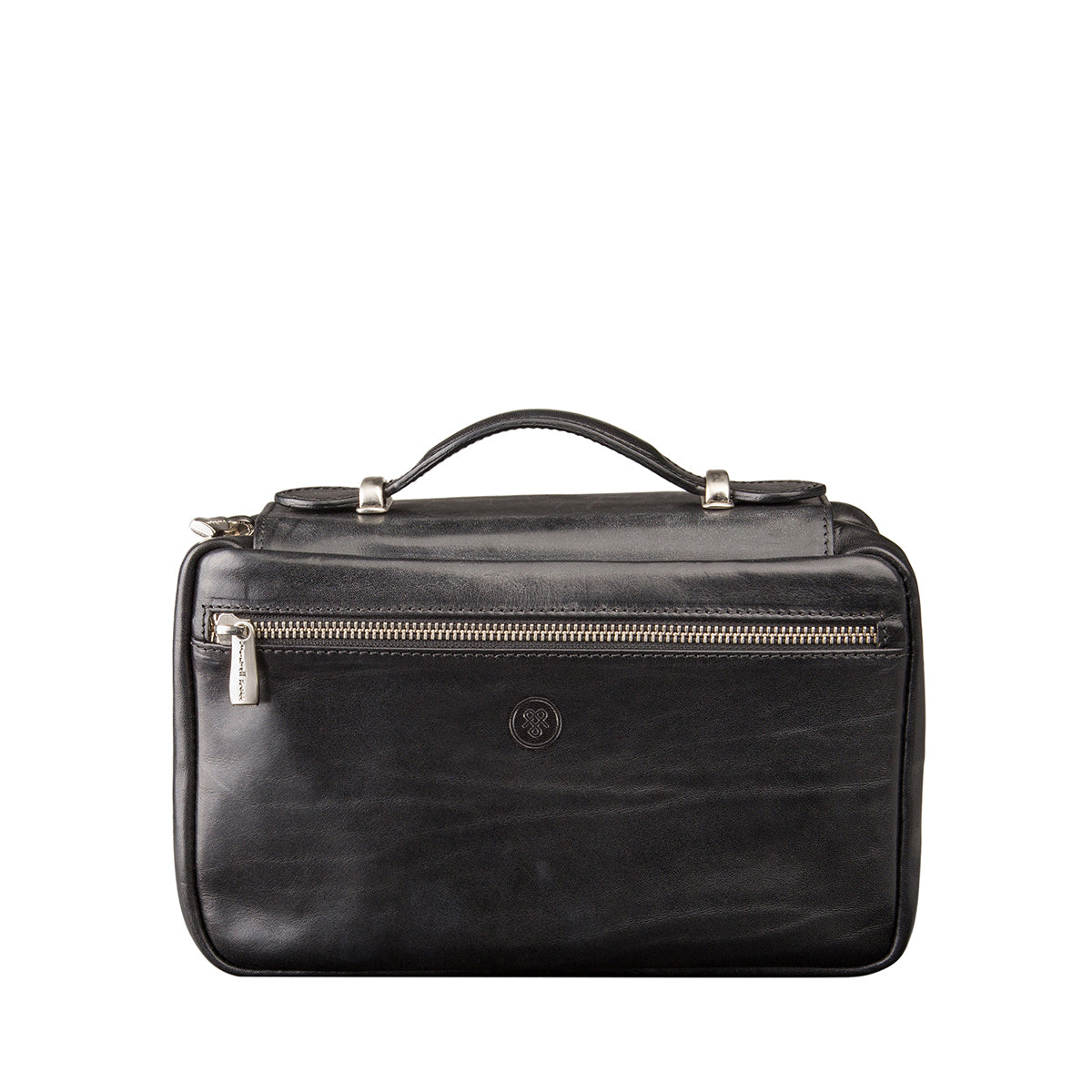 Image 1 of the 'Cascina' Black Veg-Tanned Leather Makeup Case