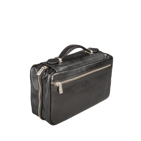 Image 2 of the 'Cascina' Black Veg-Tanned Leather Makeup Case