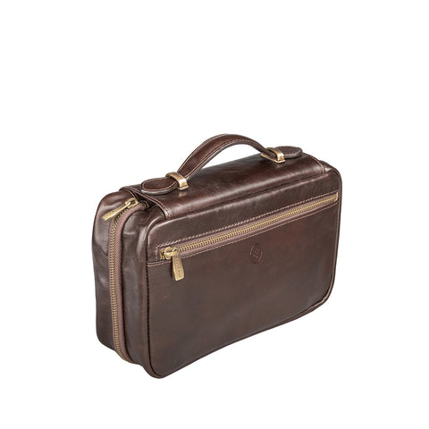 Image 2 of the 'Cascina' Chocolate Veg-Tanned Leather Makeup Case
