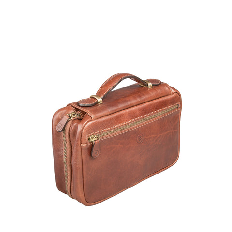 Image 2 of the 'Cascina' Chestnut Veg-Tanned Leather Makeup Case