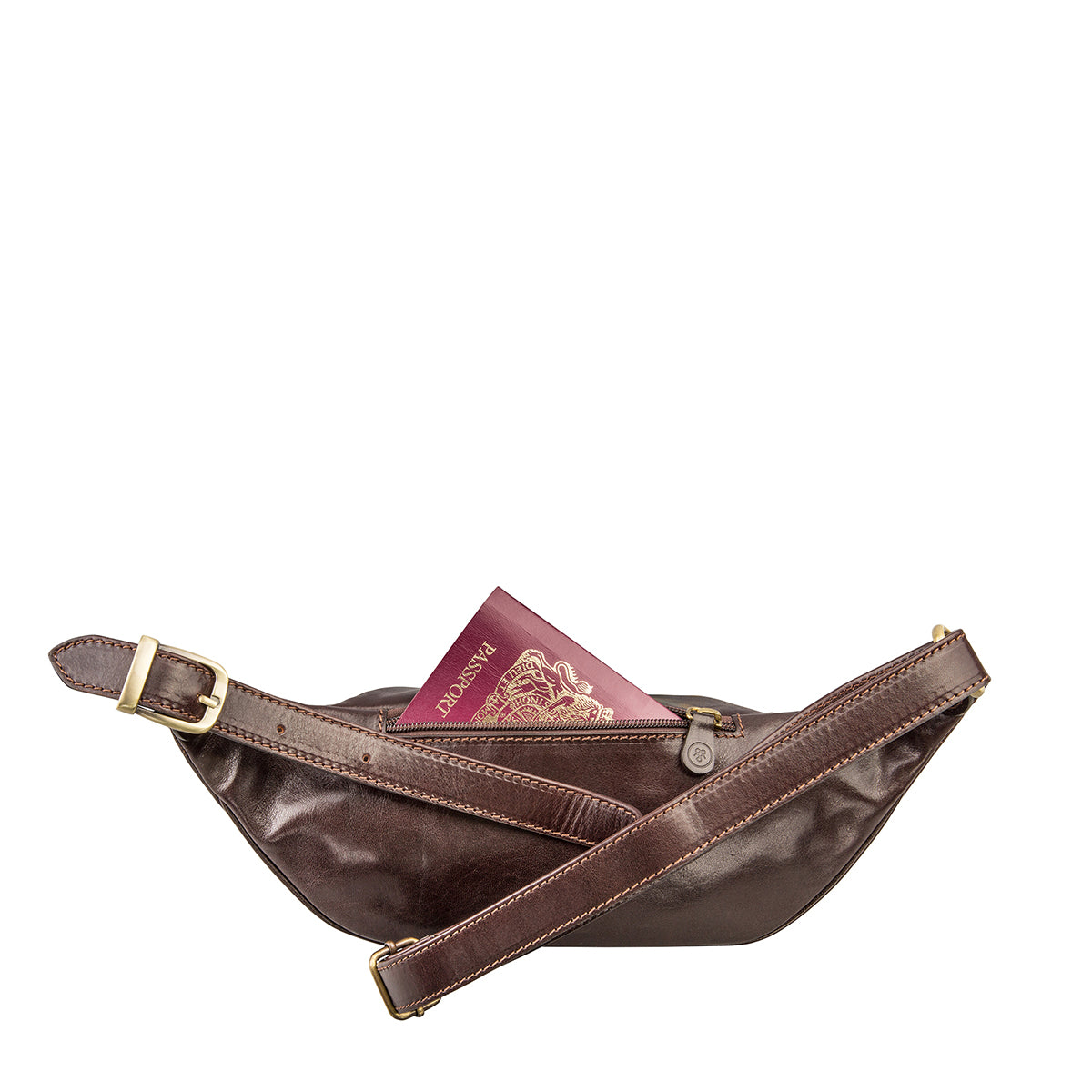 Image 3 of the 'Centolla' Dark Chocolate Veg-Tanned Leather Waist Bag