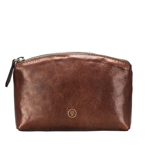Image 1 of the 'Chia' Chestnut Veg-Tanned Leather Cosmetic Bag