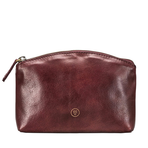 Image 1 of the 'Chia' Wine Leather Make-Up Bag