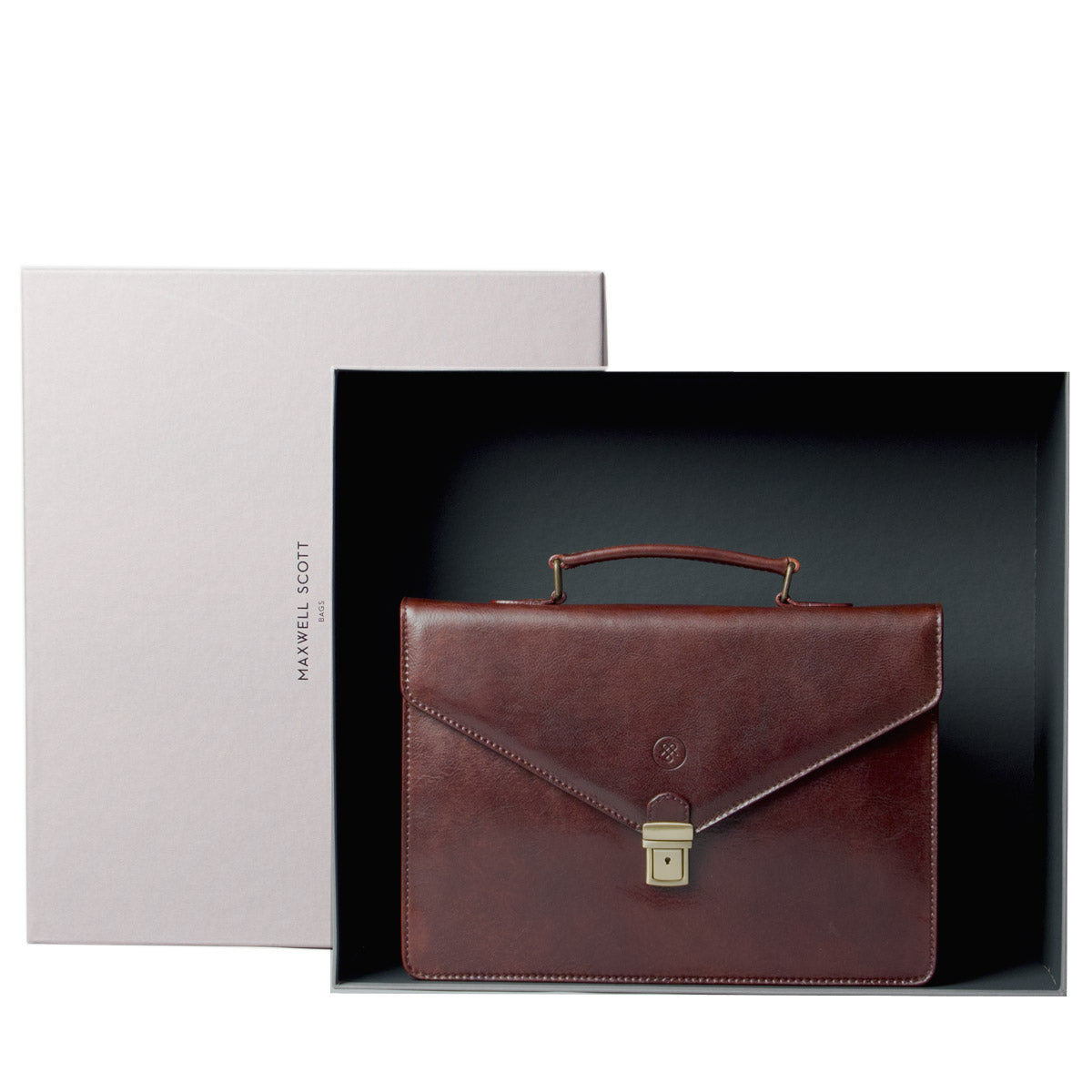 Image 6 of the 'Lorenzo' Black Veg-Tanned Slim Briefcase