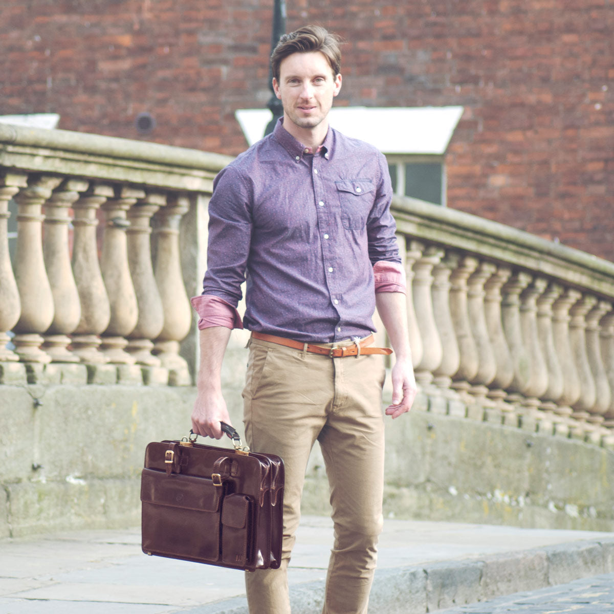 Image 8 of the 'Alanzo' Brown Veg-Tanned Leather Briefcase
