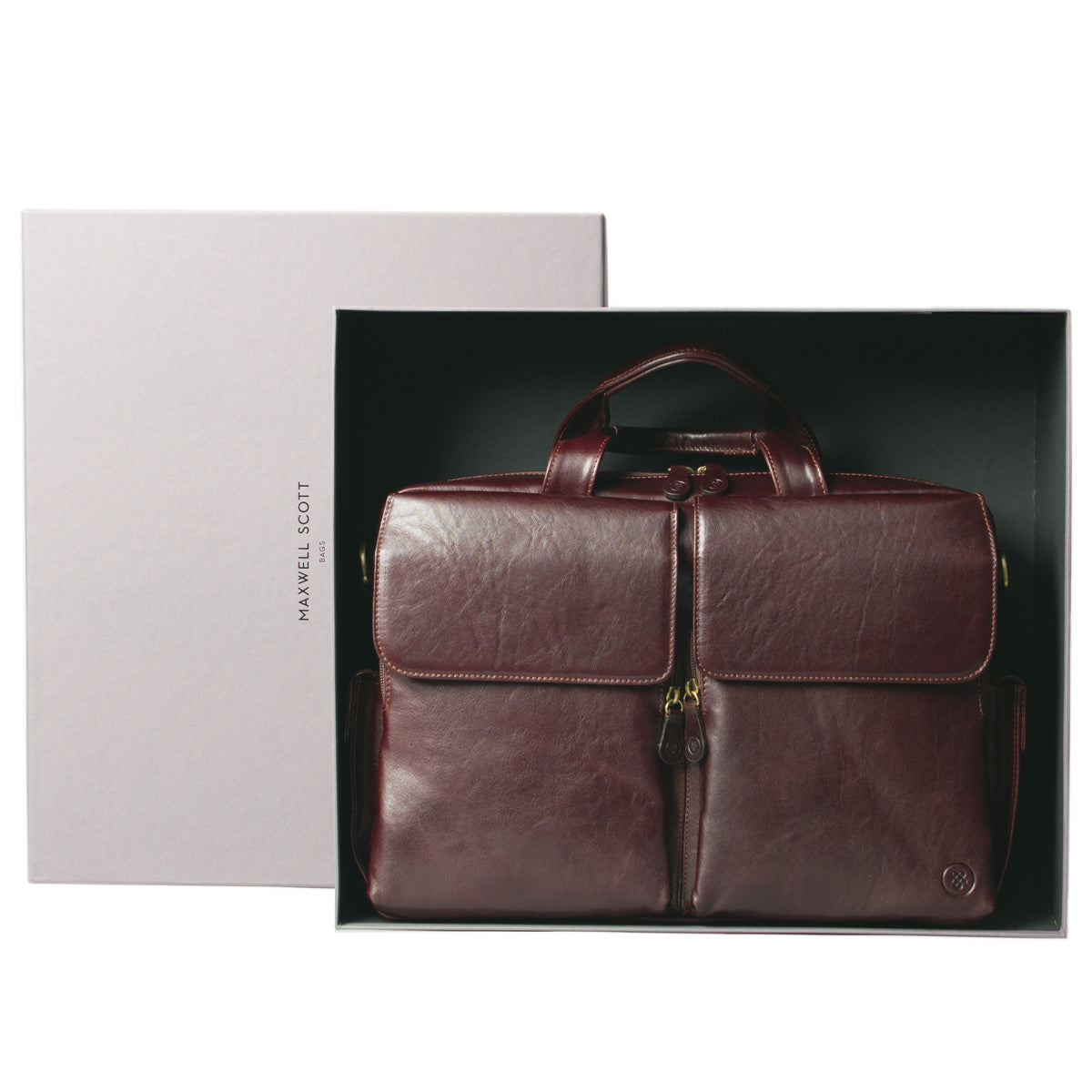 Image 7 of the 'Lagaro' Dark Chocolate Veg-Tanned Leather Briefcase