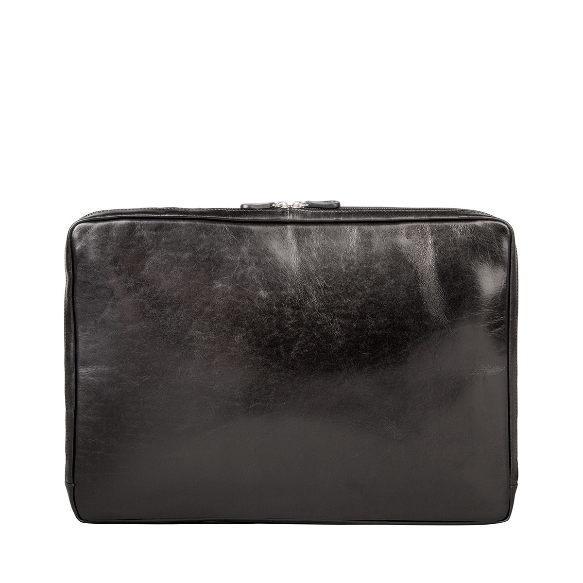 Image 3 of the 'Davoli' 17 Inch Black Veg-Tanned Leather Laptop Bag