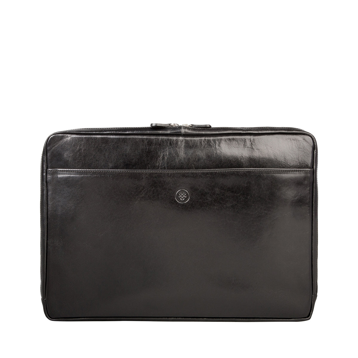 Image 1 of the 'Davoli' 17 Inch Black Veg-Tanned Leather Laptop Bag