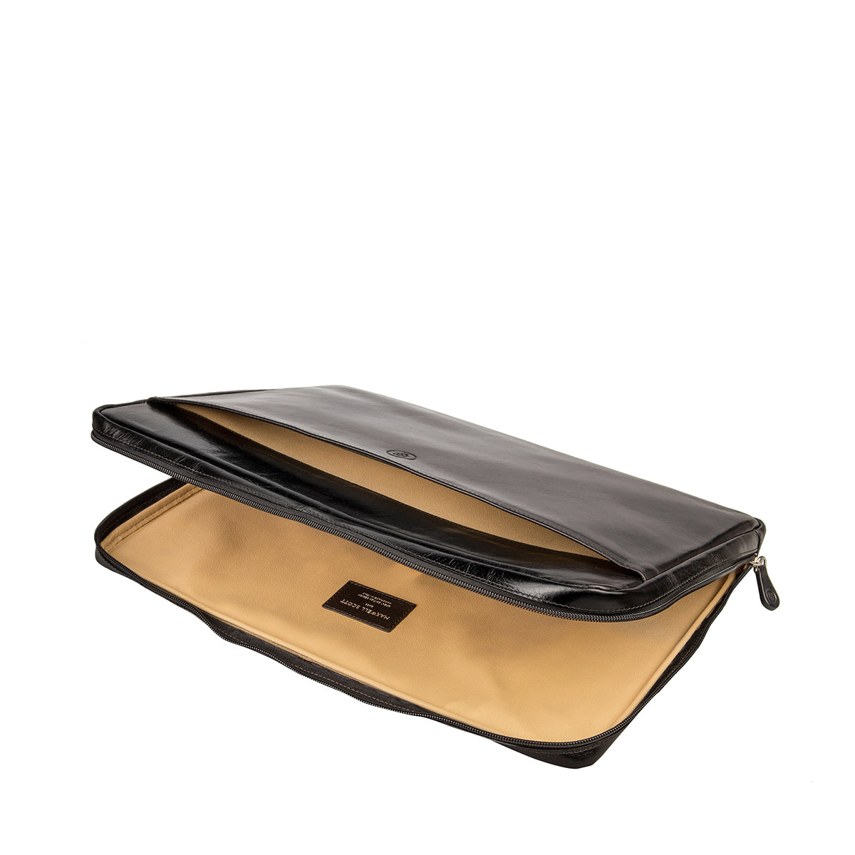 Image 5 of the 'Davoli' 17 Inch Black Veg-Tanned Leather Laptop Bag