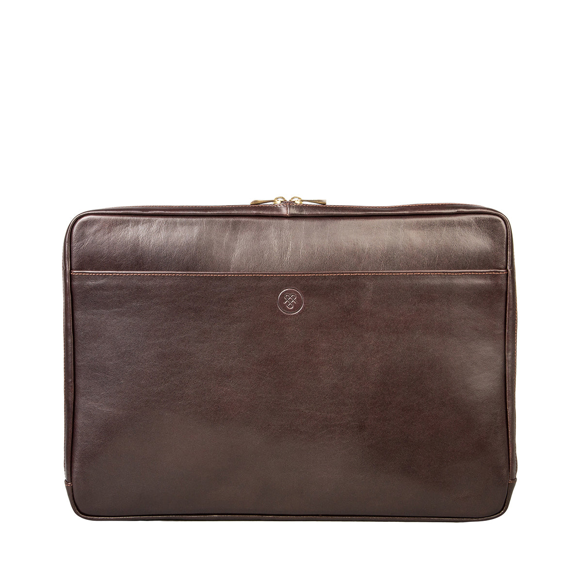 Image 2 of the 'Davoli' 17 Inch Brown Veg-Tanned Leather Laptop Bag