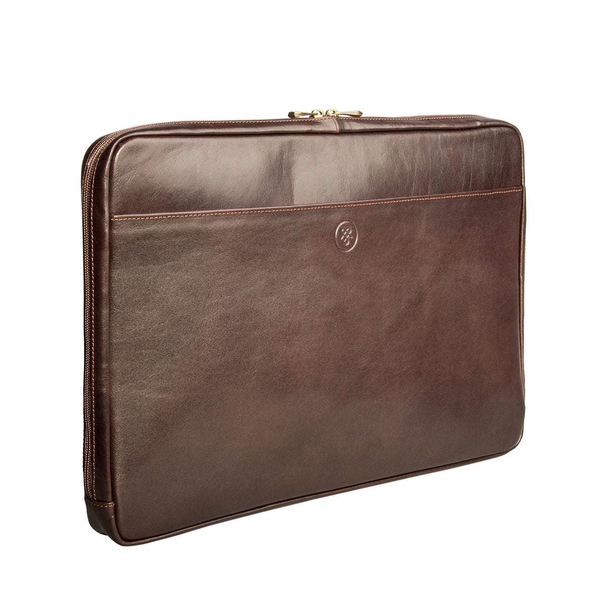 Image 1 of the 'Davoli' 17 Inch Brown Veg-Tanned Leather Laptop Bag