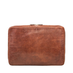 Image 3 of the 'Davoli' 17 Inch Chestnut Veg-Tanned Leather Laptop Bag