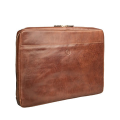 Image 2 of the 'Davoli' 17 Inch Chestnut Veg-Tanned Leather Laptop Bag