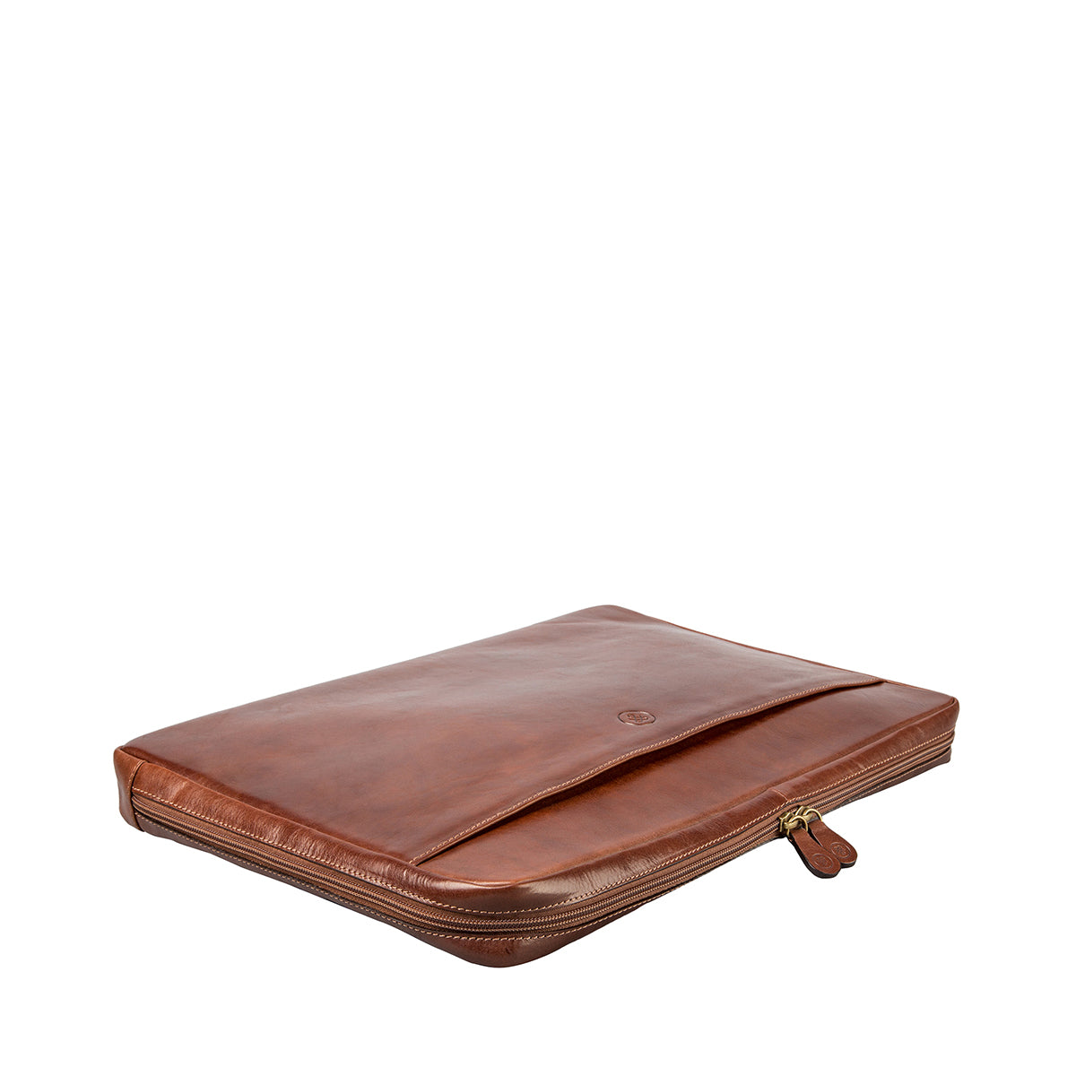 Image 4 of the 'Davoli' 17 Inch Chestnut Veg-Tanned Leather Laptop Bag