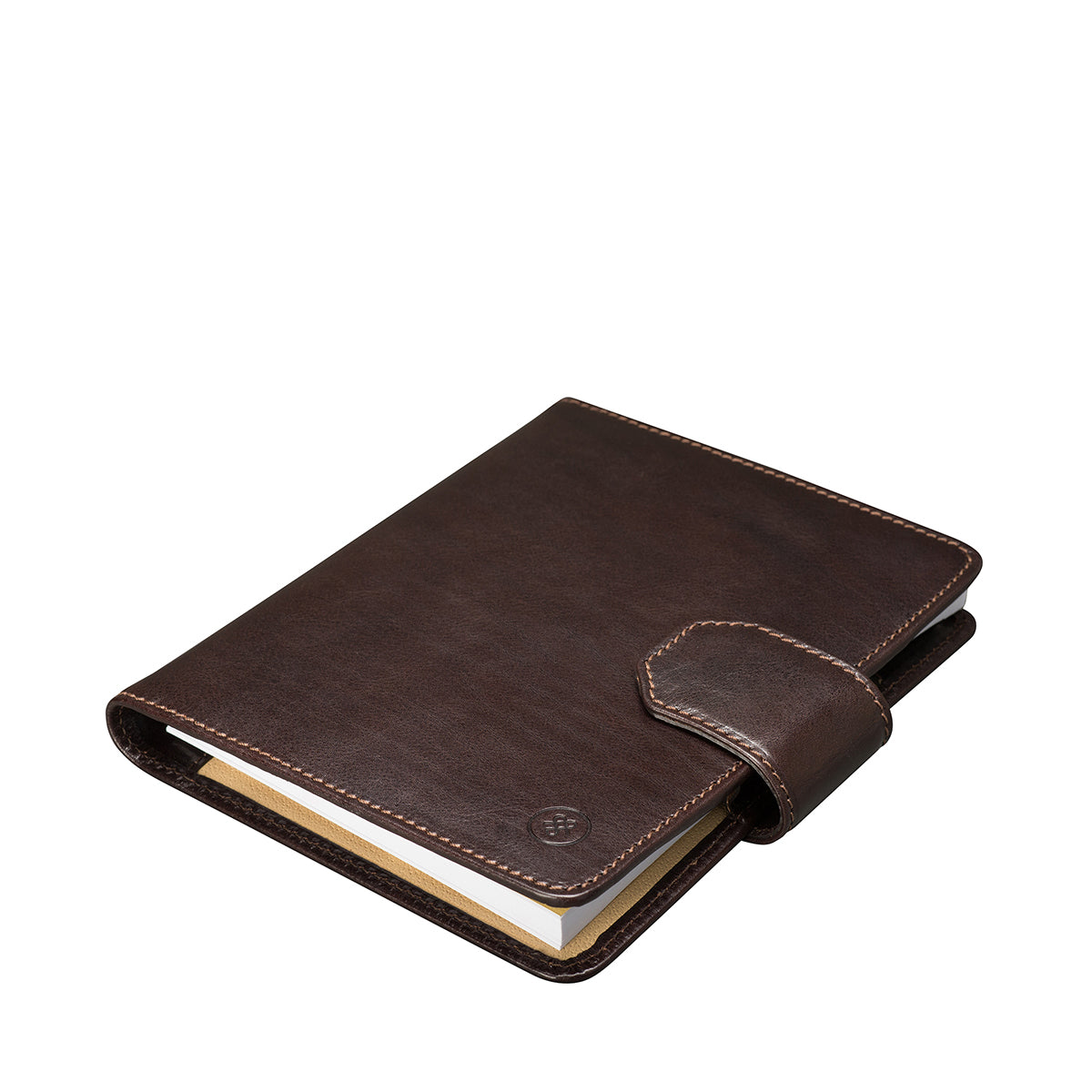 Image 3 of the 'Mozzano' Dark Chocolate Veg-Tanned Leather A5 Padfolio