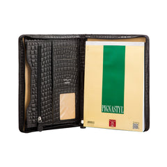 Image 3 of the 'Dimaro' Zipped Mock Croc Leather Conference Folder
