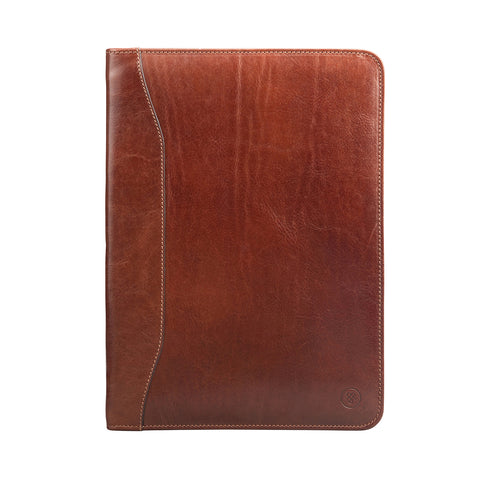 Image 1 of the 'Dimaro' Tan Leather Zipped Conference Folder