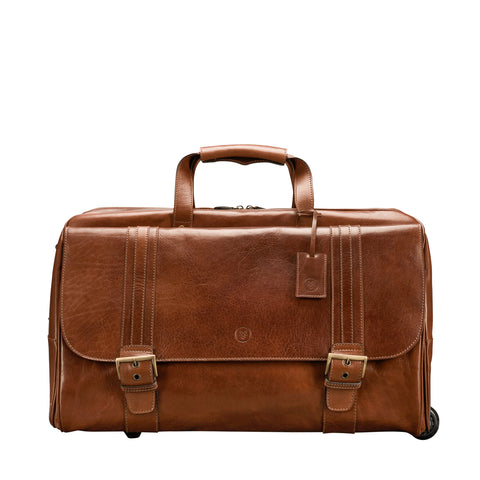 Image 1 of the 'Dino' Chestnut Veg-Tanned Leather Wheeled Holdall