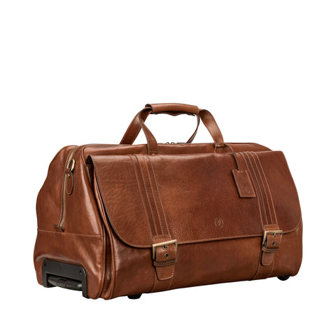Image 2 of the 'Dino' Chestnut Veg-Tanned Leather Wheeled Holdall