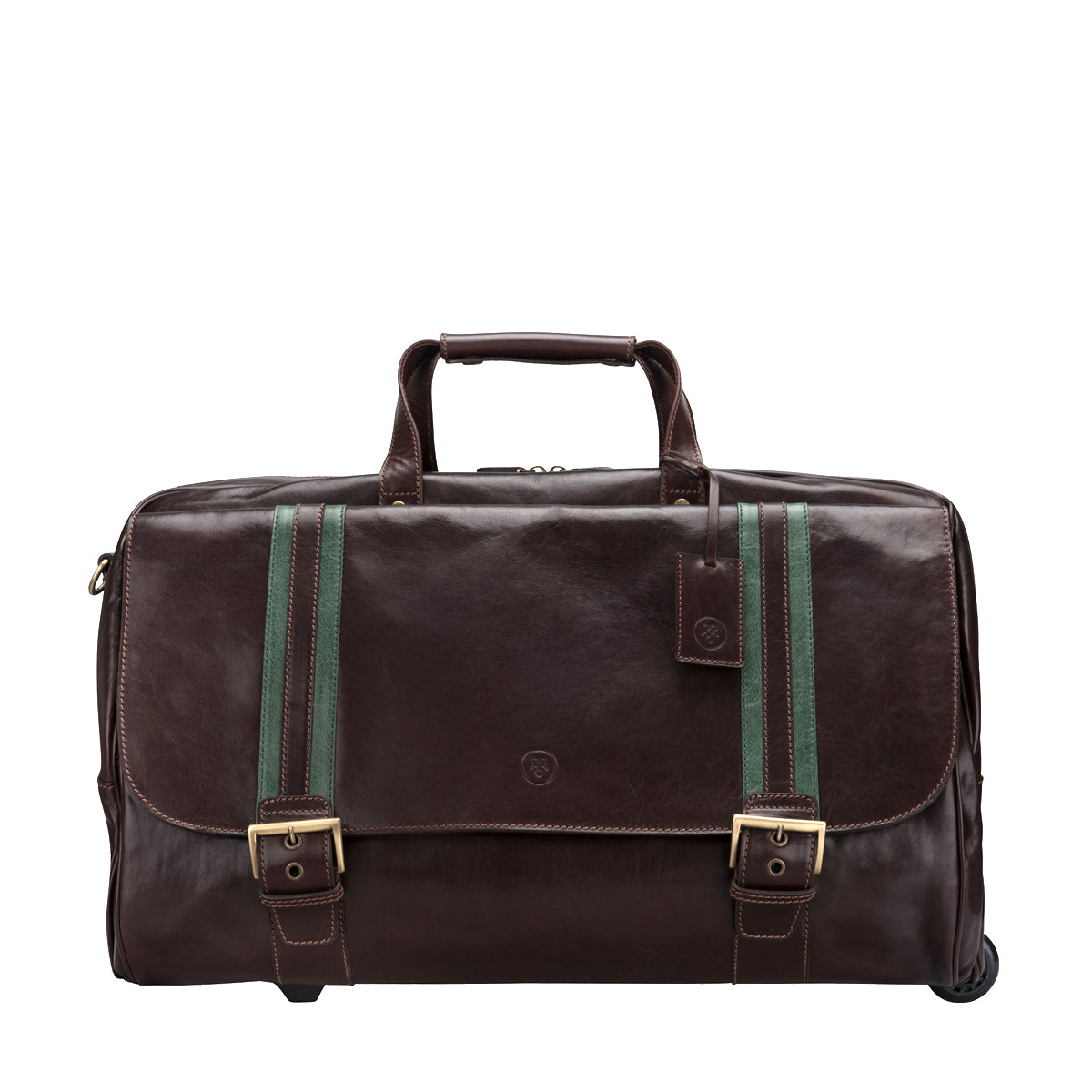Image 1 of the 'Dino' Brown Veg-Tanned Leather Wheeled Holdall
