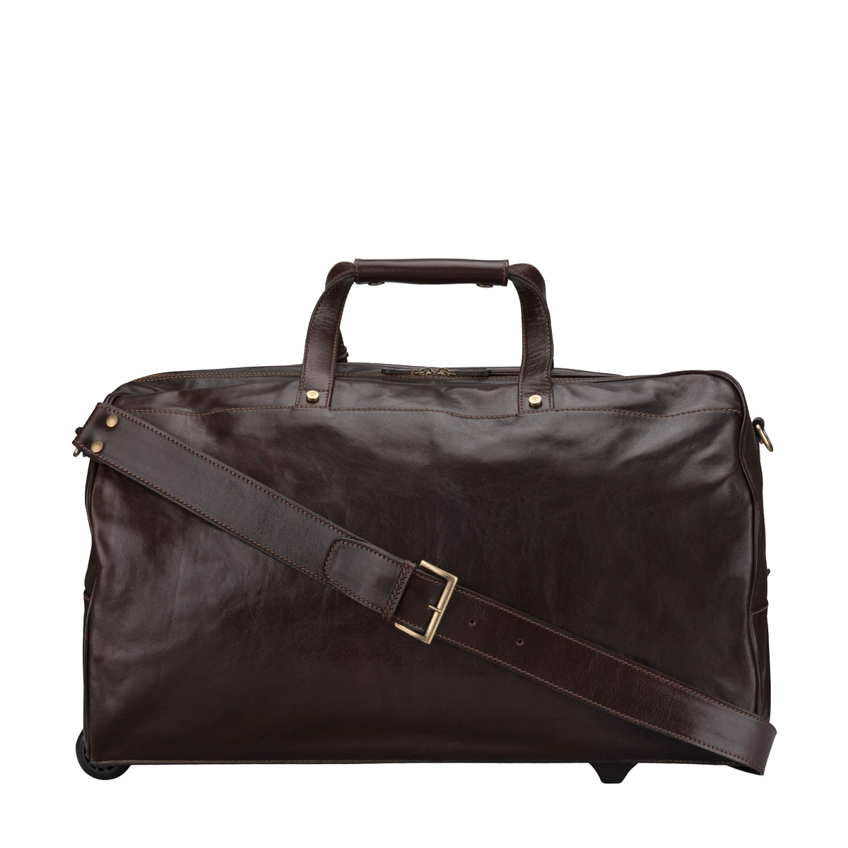 Image 4 of the 'Dino' Brown Veg-Tanned Leather Wheeled Holdall