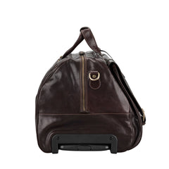 Image 3 of the 'Dino' Brown Veg-Tanned Leather Wheeled Holdall