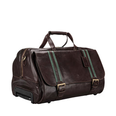 Image 2 of the 'Dino' Brown Veg-Tanned Leather Wheeled Holdall