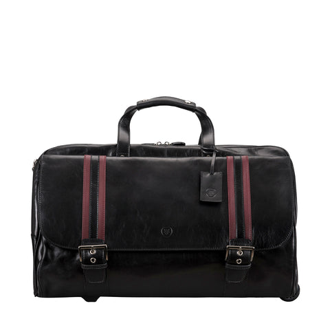 Image 1 of the 'Dino' Black Veg-Tanned Leather Wheeled Holdall