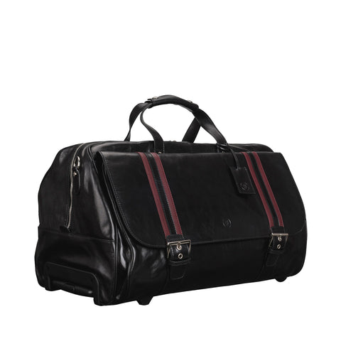 Image 2 of the 'Dino' Black Veg-Tanned Leather Wheeled Holdall