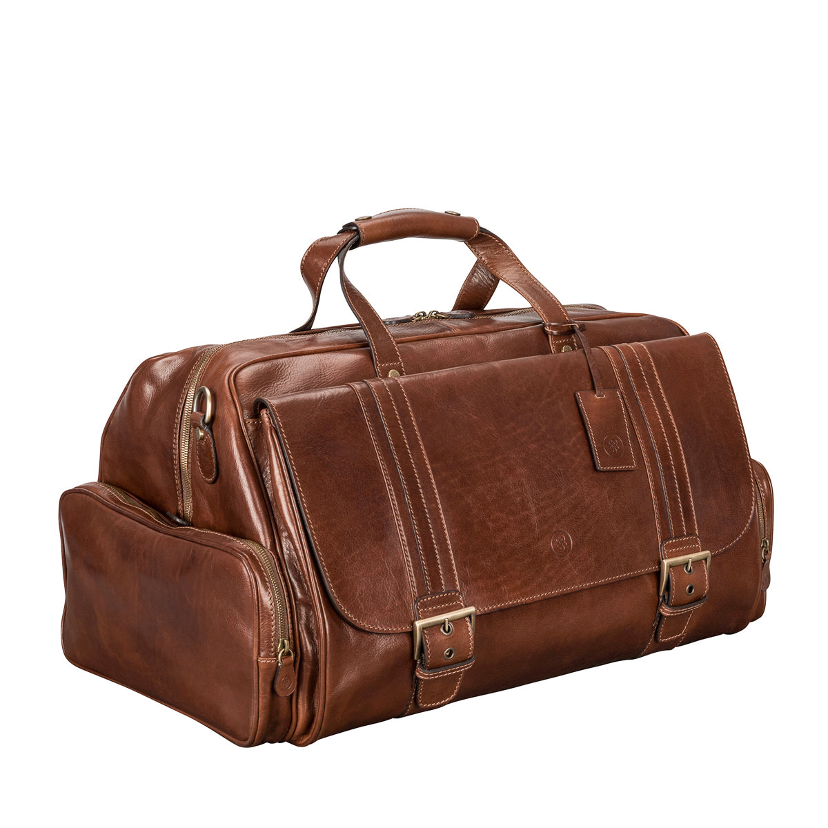 Image 2 of the 'Dino' Chestnut Veg-Tanned Leather Holdall