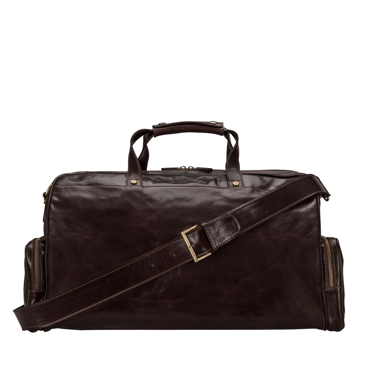 Image 4 of the 'Dino' Dark Chocolate Veg-Tanned Leather Holdall