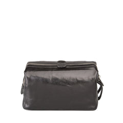 Image 4 of the 'Duno L'  Black Veg-Tanned Leather Wash Bag