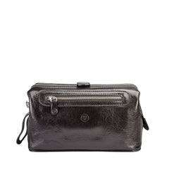 Image 1 of the 'Duno L'  Black Veg-Tanned Leather Wash Bag