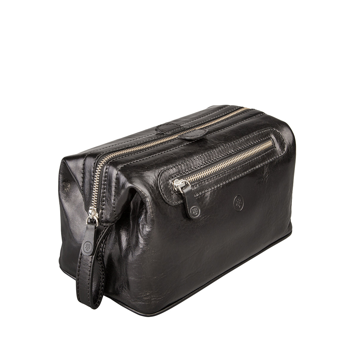 Image 2 of the 'Duno L'  Black Veg-Tanned Leather Wash Bag