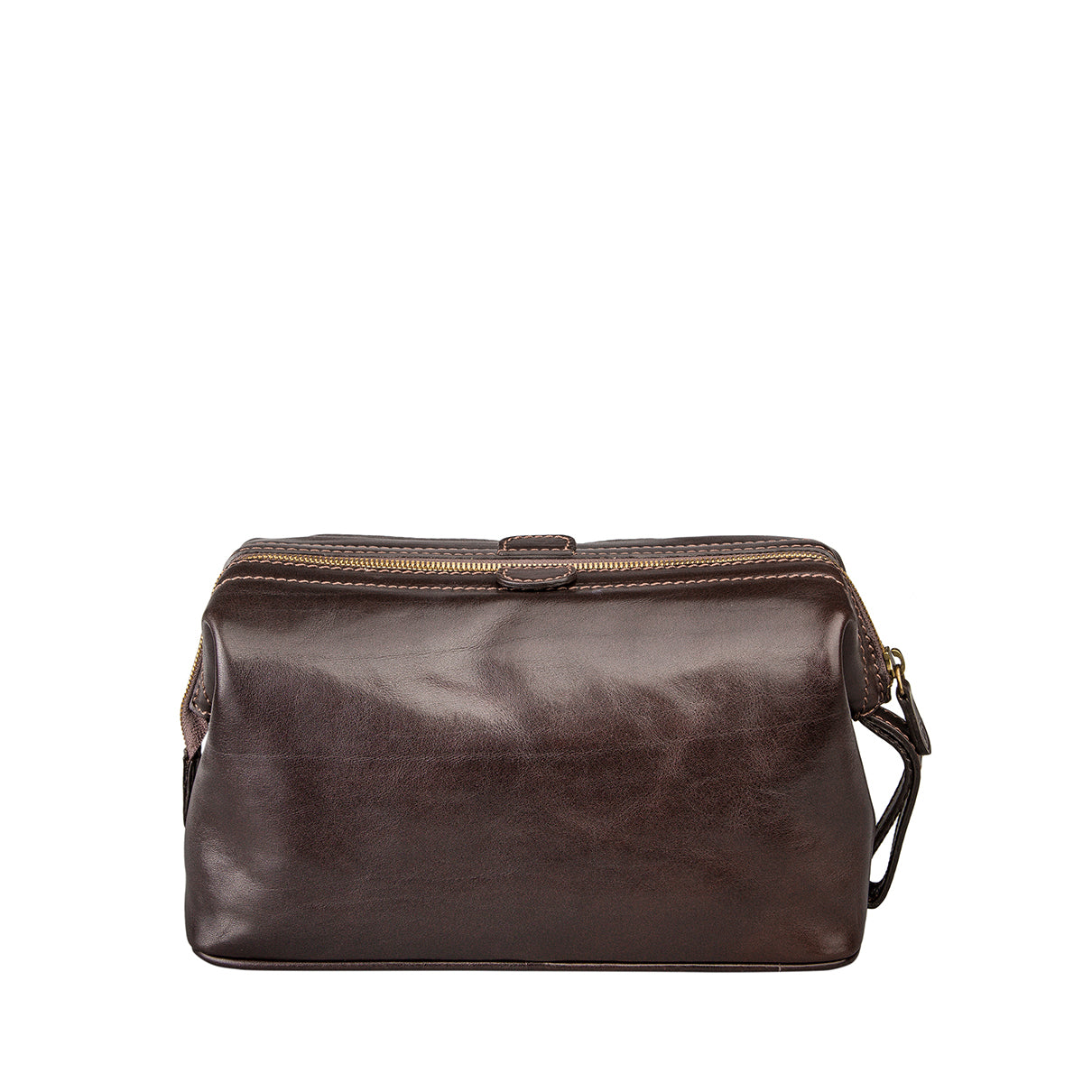 Image 4 of the 'Duno L'  Brown Veg-Tanned Leather Wash Bag