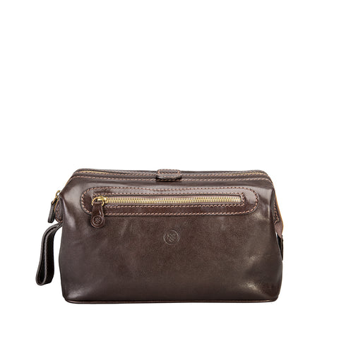 Image 1 of the 'Duno L'  Brown Veg-Tanned Leather Wash Bag