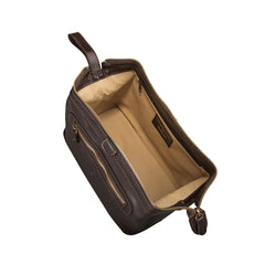 Image 5 of the 'Duno L'  Brown Veg-Tanned Leather Wash Bag